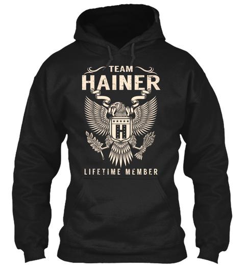 Team Hainer H Lifetime Member Black T-Shirt Front