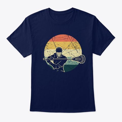 Vintage Retro Lacrosse Player Silhouette Navy T-Shirt Front