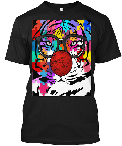 Tiger Clown Puzzle Black T-Shirt Front