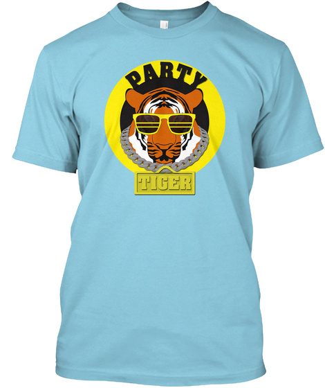 Party Tiger Light Blue T-Shirt Front