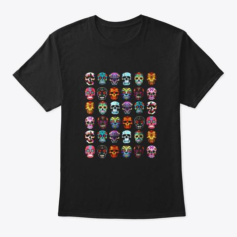 Day Of The Dead Sugar Skulls 2019 Black T-Shirt Front