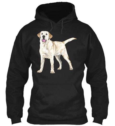 Yellow Labrador Black T-Shirt Front
