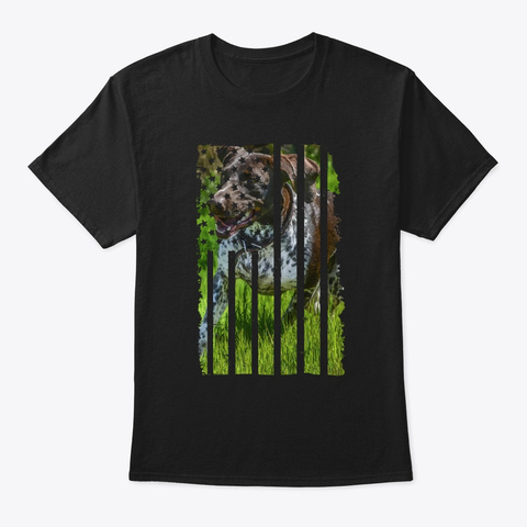 Cute German Shorthaired Pointer Us Flag Black T-Shirt Front