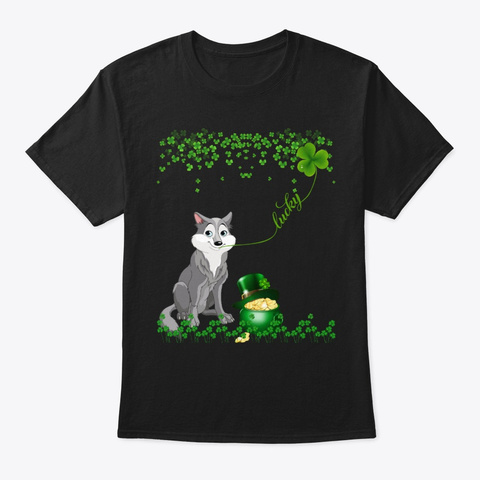 Wolf St Patrick Day Black T-Shirt Front