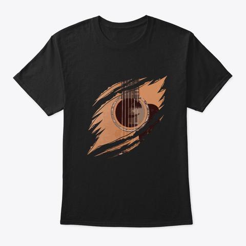Guitar In Me Tear Guitarist Music Gift Black T-Shirt Front