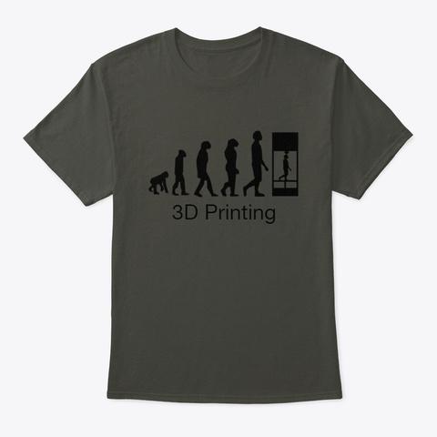 3 D Printing Evolution Smoke Gray T-Shirt Front