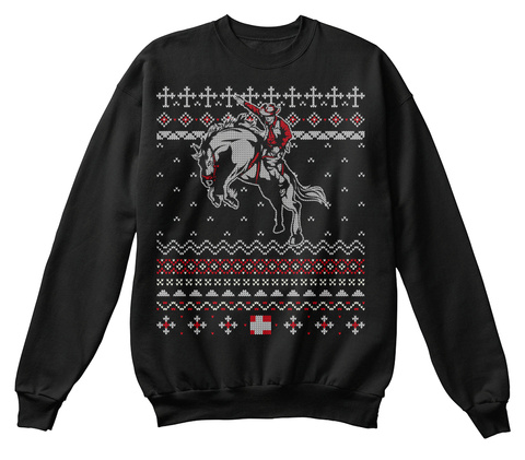 Bucking Bronco Horse Christmas Sweater Black T-Shirt Front