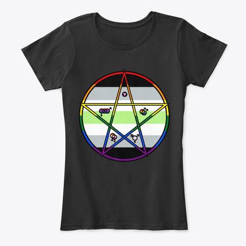 Queer Pentagram Agender Black T-Shirt Front