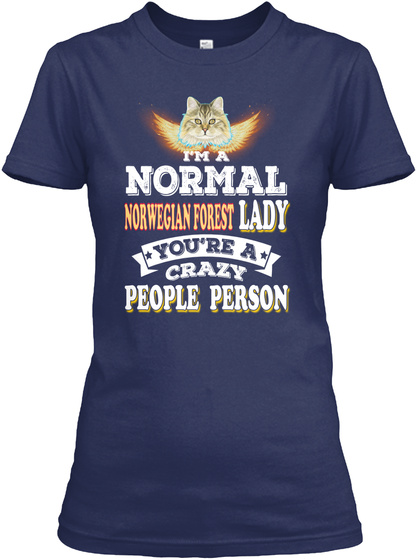 Norwegian Forest Normal Crazy Lady Navy T-Shirt Front