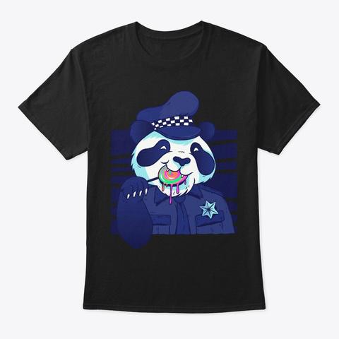 Policeman Panda With Lollipop Cool Gift Black Camiseta Front