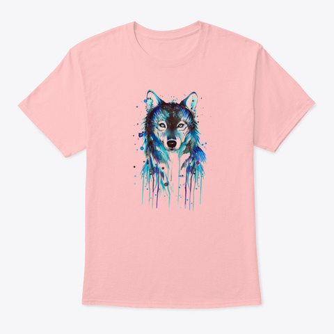 Blue Wolf Pale Pink T-Shirt Front
