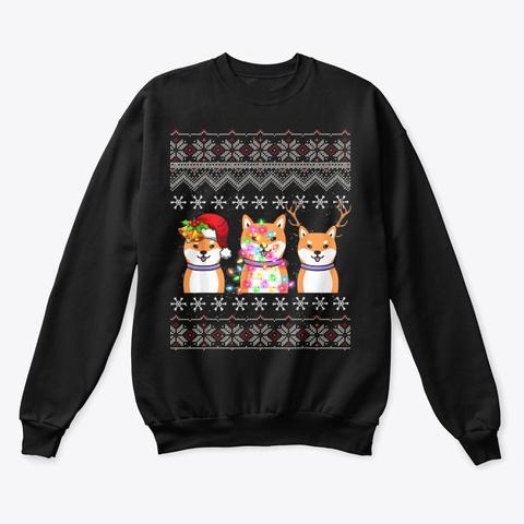 Christmas Shiba Inu Lights Santa Hat Black T-Shirt Front