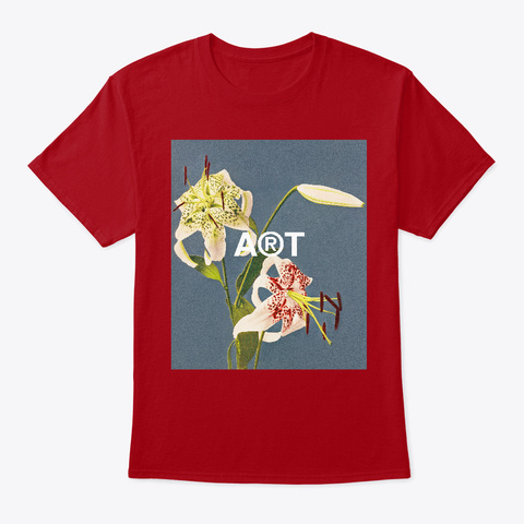 Red Lily Still Life Vintage Flowers  Deep Red T-Shirt Front