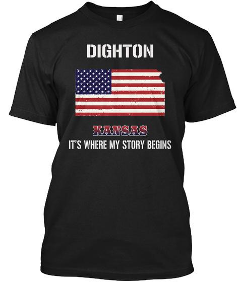 Dighton Ks   Story Begins Black T-Shirt Front