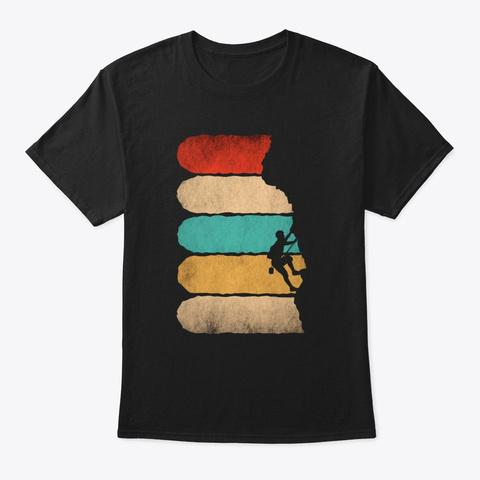 Rock Climbing Retro Hipster  Black T-Shirt Front