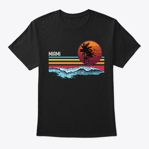 Vintage Retro Miami Beach Surfing Sunset Black T-Shirt Front