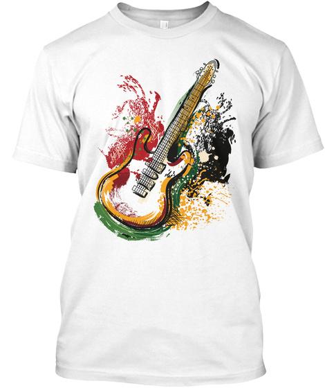 Guitar Guitar Watercolor Art White T-Shirt Front