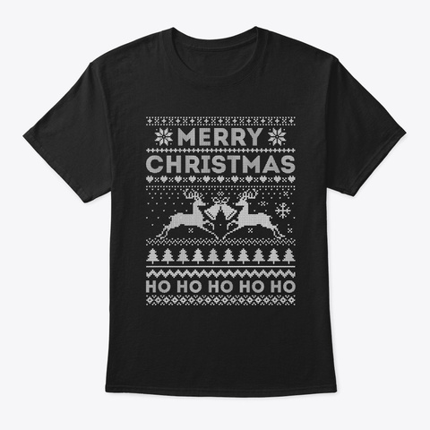 Rudolph Light Up Ugly Christmas Sweater Black T-Shirt Front