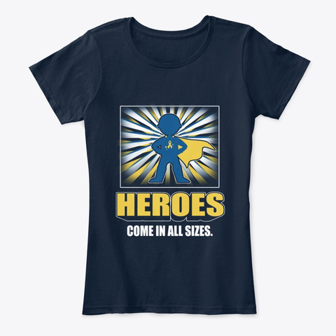 Childhood Cancer Awareness Heroes New Navy T-Shirt Front