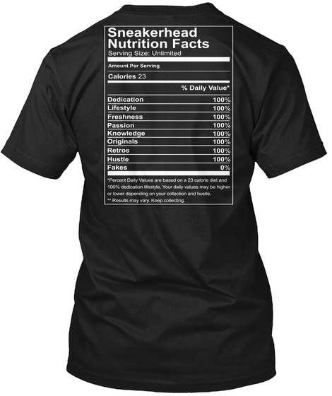 Sneaker Head Nutrition Facts Serving Size Unlimited Amount Per Serving Calories 23 %Dialy Value* Dedication 100%... Black T-Shirt Back