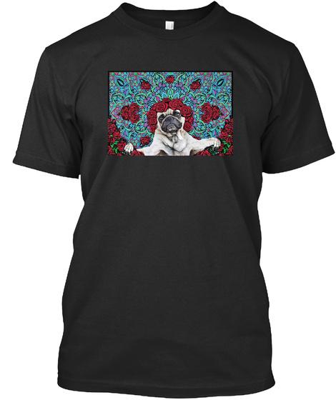 Pugs Roses Black T-Shirt Front