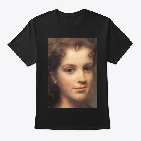 Classical Female Painting Portrait Black T-Shirt Front