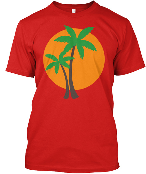 Palm Trees Red T-Shirt Front