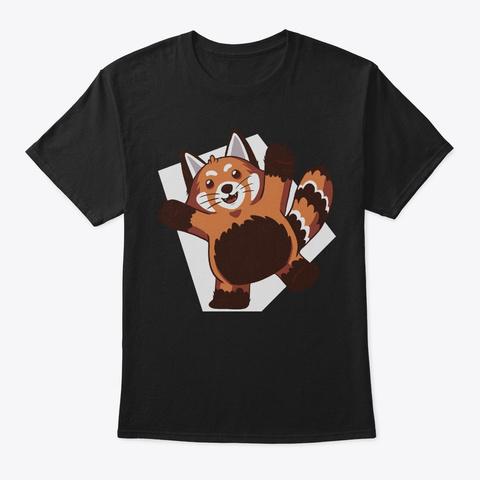 Lovely Raccoon Red Panda Lover Gift Black T-Shirt Front