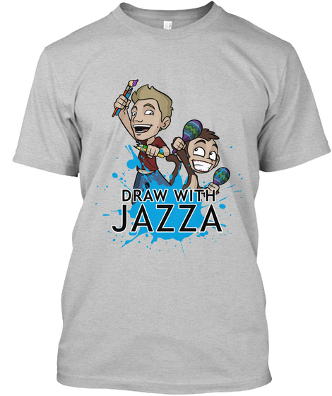Draw With Jazza Light Heather Grey  T-Shirt Front