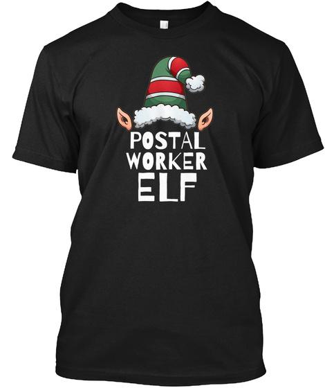 Postal Worker Elf Black T-Shirt Front