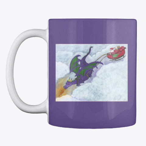 Dragon Pulling Santa's Sleigh Purple T-Shirt Front