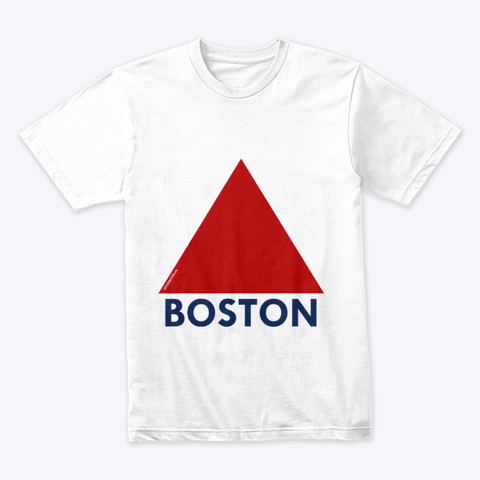 New 10% Off   Boston Fenway Triangle  White T-Shirt Front