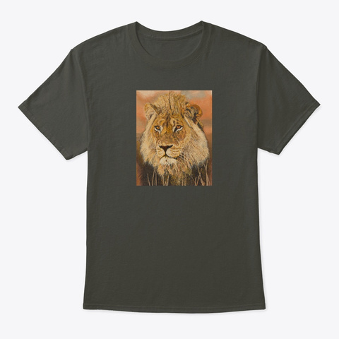 Afrigraphix   Lion At Sunset Smoke Gray T-Shirt Front