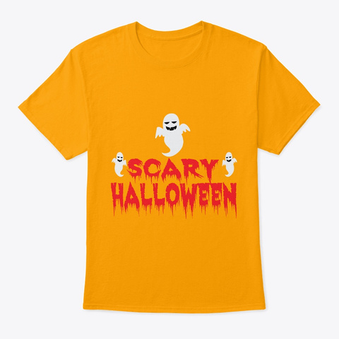 Scary Halloween Funny Tshirt Gold T-Shirt Front