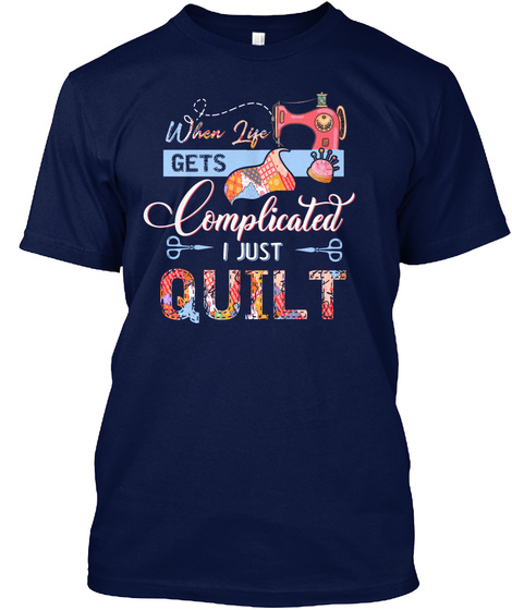 Quilting   Sewing Navy Camiseta Front