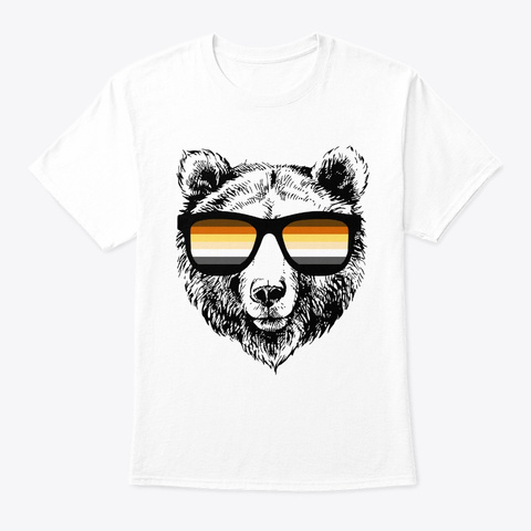 Bear Flag Gay Pride Lgbtq  Sunglasses Gi White T-Shirt Front