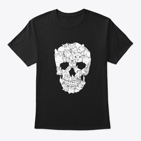 Cat Skull T Shirt Kitty Skeleton Black T-Shirt Front