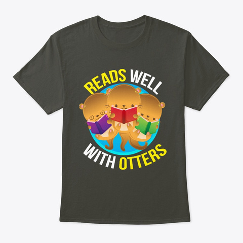 Reads Well With Otters Reading Smoke Gray T-Shirt Front