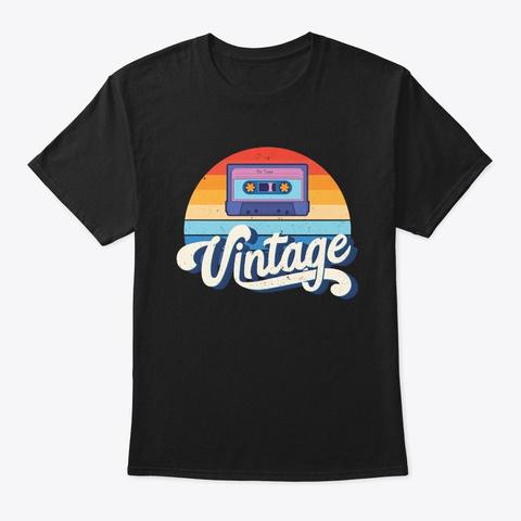 Vintage Retro Cassette 80s Mixtape Black T-Shirt Front