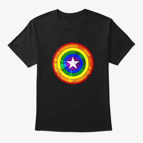 Lgbt Rainbow Captain Shield National Black T-Shirt Front