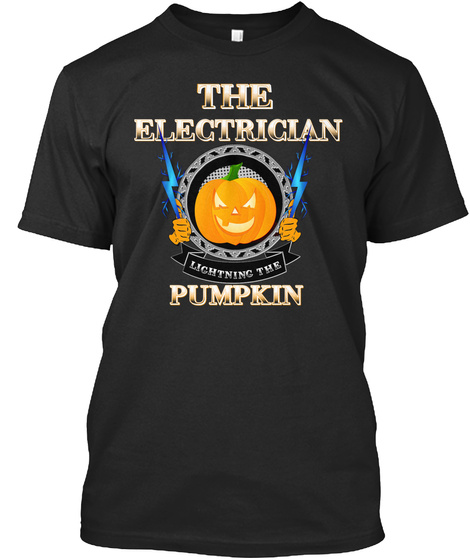 Electrician Lightning Pumpkin Black T-Shirt Front