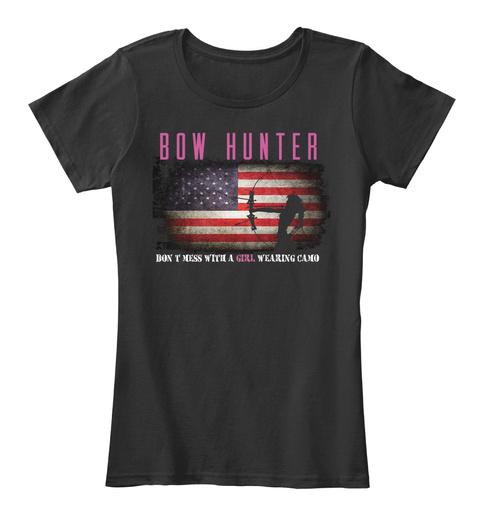 Bow Hunter Girl On Camo Black T-Shirt Front
