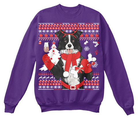 Border Collie Christmas Purple Sweatshirt Front