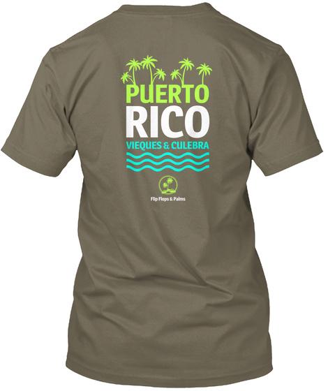 Puerto Rico  Vieques Culebra Flip Flops & Palms Venetian Gray T-Shirt Back