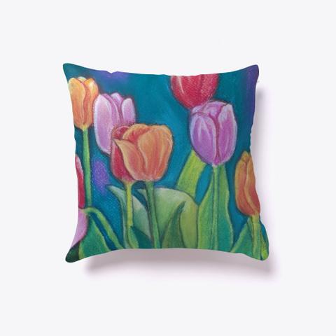 Multicolored Tulips Pastel Art Dark Navy T-Shirt Front