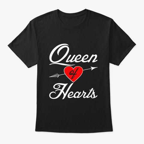 Queen Of Hearts Shirt Halloween Costume Black T-Shirt Front
