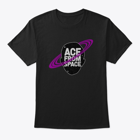 Asexual Pride Lgbtq Ace From Space Gift Black T-Shirt Front