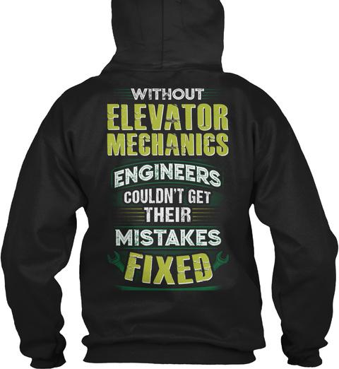 Awesome Elevator Mechanic Black T-Shirt Back