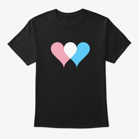 Transgender Flag Colors Double Hearts Black T-Shirt Front