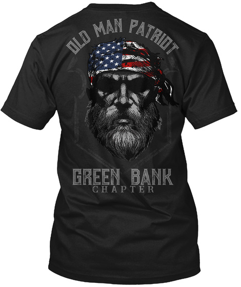 Green Bank Old Man Black T-Shirt Back